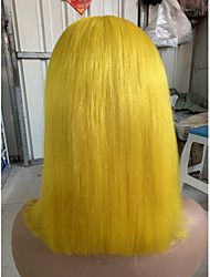 cheap -Virgin Human Hair Remy Human Hair 4x13 Closure Lace Front Wig Bob Short Bob Side Part style Brazilian Hair Straight Natural Straight Blonde Wig 150% Density with Baby Hair Normal 100% Virgin Blonde