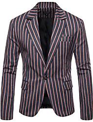 abordables -Marine / Gris / Bleu Océan Rayé Coupe Slim Polyester Costume - Cranté Droit 1 bouton