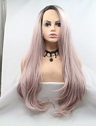 저렴한 -합성 레이스 프론트 가발 곱슬한 / 무광 스타일 레이어드 헤어컷 전면 레이스 가발 핑크 핑크 / 그레이 Kanekalon 24 인치 여성용 패션너블 디자인 / 여성 / 뜨거운 판매 핑크 가발 긴 Sylvia 내츄럴 가발