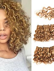 tanie -6 pakietów z zamknięciem Włosy brazylijskie Curly Włosy naturalne Doczepy z naturalnych włosów Splot Taśma włosów z zamknięciem 8 in Srebrny Złoty Ludzkie włosy wyplata Damskie Rozbudowa Najwyższa