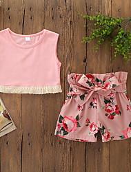 abordables -bébé Fille Actif / Basique Fleur Lacet / Imprimé Sans Manches Court Coton Ensemble de Vêtements Rose Claire / Bébé