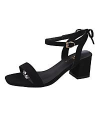 ราคาถูก -สำหรับผู้หญิง PU ฤดูร้อน ไม่เป็นทางการ รองเท้าแตะ Block Heel เปิดนิ้ว สีดำ / ผ้าขนสัตว์สีธรรมชาติ / สีชมพู