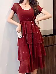baratos -midi das mulheres um vestido de linha pescoço quadrado vinho preto one-size