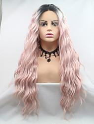 저렴한 -합성 레이스 프론트 가발 곱슬한 / 무광 스타일 레이어드 헤어컷 전면 레이스 가발 핑크 블랙 / 핑크 인조 합성 헤어 24 인치 여성용 파티 / 여성 / 뜨거운 판매 핑크 가발 긴 Sylvia 130 % 인간의 머리카락 밀도 내츄럴 가발