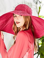 Недорогие -Шляпа для туризма и прогулок Кепка Широкий край 1 ед. С защитой от ветра Защита от солнечных лучей Устойчивость к УФ Дышащий Сплошной цвет Мода Чинлон Весна для Жен. Отдых и Туризм Пляж Путешествия