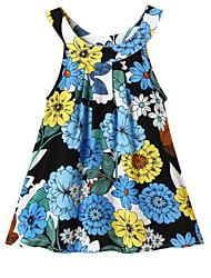 abordables -Bebé Chica Activo / Boho Floral Estampado Sin Mangas Algodón Vestido Azul Piscina