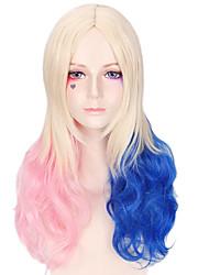 halpa -Synteettiset peruukit Kihara Tyyli Keskiosa Suojuksettomat Peruukki Vaaleanpunainen Pinkki Synteettiset hiukset 22 inch Naisten Muodikas malli / Party / Naisten Vaaleanpunainen Peruukki Pitkä