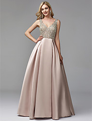 cheap -A-Line V Neck Floor Length Satin / Sequined Prom / Formal Evening Dress with Beading by TS Couture®