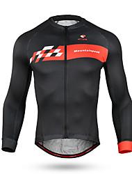 baratos -Homens Manga Longa Camisa para Ciclismo - Preto / Vermelho Moto Blusas Secagem Rápida Esportes Elastano Roupa / Micro-Elástica