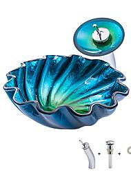 Недорогие -умывальник для ванной / смеситель для ванной / монтажное кольцо для ванной Современный / Античный - Закаленное стекло Круглый Vessel Sink