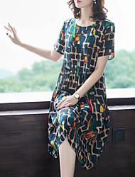 זול -עד הברך דפוס, גיאומטרי - שמלה נדן סגנון רחוב מתוחכם בגדי ריקוד נשים