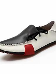 halpa -Miesten Comfort-kengät PU Kevät kesä Vapaa-aika Oxford-kengät Non-liukastumisen Color Block Harmaa / Ruskea / Musta / valkoinen