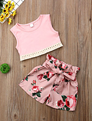 Недорогие -малыш Девочки Активный / Классический Цветочный принт С принтом Без рукавов Обычный Набор одежды Розовый