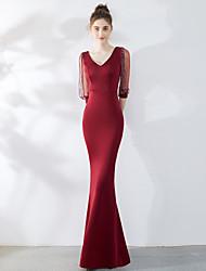 זול -בתולת ים \ חצוצרה צווארון V עד הריצפה סאטן שמלה עם פרטים מקריסטל על ידי LAN TING Express