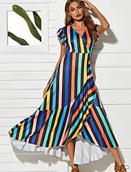 preiswerte -Damen Grundlegend Swing Kleid - Rüsche, Regenbogen Maxi