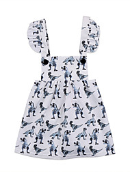 Недорогие -малыш Девочки Активный / Классический С принтом Без рукавов Платье Белый