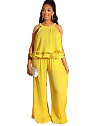 Недорогие -Жен. Классический Желтый Красный Широкие Тонкие Комбинезоны, Однотонный S M L