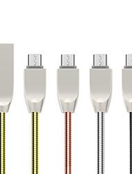 Недорогие -1,0 м (3 фута) Mirco USB-кабель плоский / быстрая зарядка USB-кабель из нержавеющей стали для Samsung Huawei Xiaomi Sony LOVE HTC Nokia Motorola LG и т. Д.