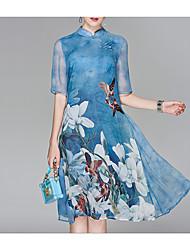 Недорогие -Жен. На выход В китайском стиле Шифон Платье - Цветочный принт, С принтом Воротник-стойка Средней длины