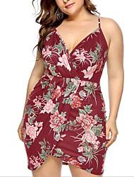 Χαμηλού Κόστους -Γυναικεία Βασικό Εφαρμοστό Θήκη Φόρεμα - Φλοράλ Γεωμετρικό Μίνι
