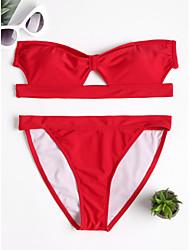 baratos -Mulheres Vermelho Biquíni Roupa de Banho - Sólido S M L Vermelho
