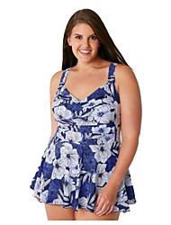 abordables -Mujer Básico Azul Piscina Halter Falda Pícaro Una Pieza Bañadores - Floral Estampado XXL XXXL XXXXL Azul Piscina