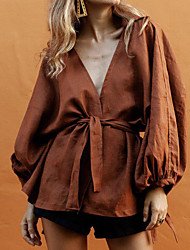 baratos -Mulheres Camisa Social Sólido Marron US4