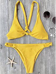 baratos -Mulheres Amarelo Biquíni Roupa de Banho - Sólido S M L Amarelo
