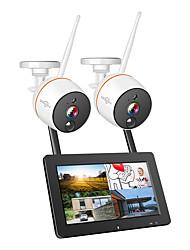 baratos -Hiseeu 8ch 1080 p sistema de segurança sem fio cctv 2mp ir registro de áudio ao ar livre ip câmera à prova d 'água wi-fi nvr kit de vigilância por vídeo