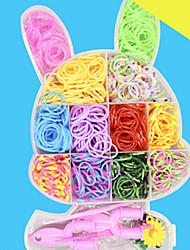 Недорогие -DIY резинки браслеты цвета радуги ткацкий станок для детей с 600pcs групп и 24 с зажимами