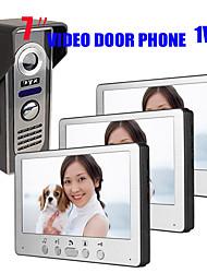 olcso -815m13 ultra-vékony 7 hüvelykes vezetékes videó ajtócsengő hd villa egy három vizuális intercom kültéri egység éjszakai látás eső kinyit funkció