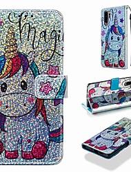 Недорогие -Кейс для Назначение Huawei Huawei P30 / Huawei P30 Pro / Huawei P30 Lite Кошелек / Бумажник для карт / со стендом Чехол Животное / Сияние и блеск Твердый Кожа PU