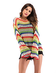 preiswerte -Damen Gestreift - Street Schick T-shirt Patchwork Regenbogen US8