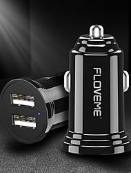 Недорогие -floveme 5v 2.4a двойной автомобильное зарядное устройство 12v-24v вход USB зарядное устройство для универсального автомобиля / багажника