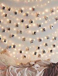 Недорогие -Loende 5 м 50 светодиодов фото клип держатель строки огни теплый белый / RGB / белый на Рождество Новый год свадьба украшение дома сказочные огни на батарейках