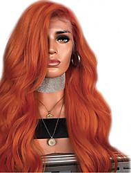 Недорогие -Синтетические кружевные передние парики Волнистый Стиль Боковая часть Лента спереди Парик Оранжевый Искусственные волосы 18-24 дюймовый Жен. Регулируется Жаропрочная Для вечеринок Темно-коричневый