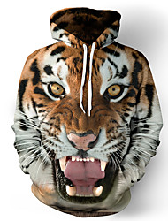 Недорогие -Муж. Классический Свободный силуэт толстовка с капюшоном куртки - 3D / Животное Капюшон