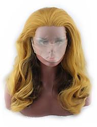 povoljno -Perike s ljudskom kosom Tijelo Wave Stil Srednji dio Lace Front Perika Zlatna Žuta Sintentička kosa 26 inch Žene Žene Zlatna Perika Dug Prirodna perika