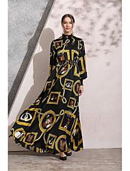 저렴한 -전통 및 문화 착용 아바야 여성용 일상복 폴리에스테르 패턴 / 프린트 내츄럴 아바야