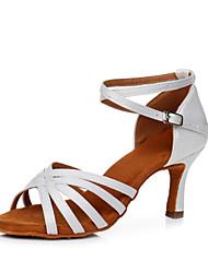olcso -Női Szatén Latin cipők Magassarkúk Kúpsarok Személyre szabható Forgásc / Piros / Leopárd