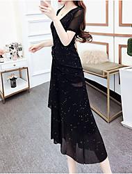 abordables -Mujer Sofisticado Elegante Vaina Gasa Vestido - Lentejuelas Cortado, Un Color Midi