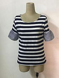 preiswerte -Damen Gestreift - Grundlegend T-shirt Patchwork Weiß US6