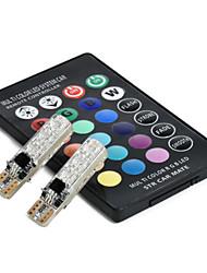 Недорогие -2шт T10 дистанционного управления автомобилем светодиодные лампы 6 smd многоцветный боковые лампочки