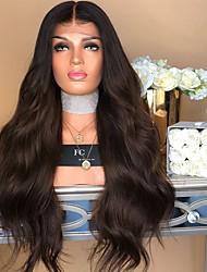 halpa -Aitohiusperuukit verkolla Kinky Straight Tyyli Keskiosa Suojuksettomat Peruukki Tummanruskea Tummanruskea / tumma Auburn Synteettiset hiukset 22 inch Naisten Naisten Tummanruskea Peruukki Pitkä