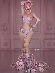 economico -Dancewear esotico Body con strass / Tute da sera Per donna Prestazioni Elastene Con applique / Ciondoli / gioielli / Cristalli / Strass Manica lunga Abito
