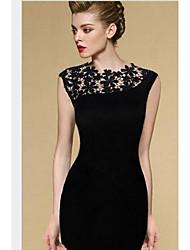 abordables -Mujer Sofisticado Corte Bodycon Vestido - Cortado, A Rayas Sobre la rodilla