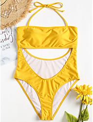 baratos -Mulheres Amarelo Maiô Roupa de Banho - Sólido S M L Amarelo