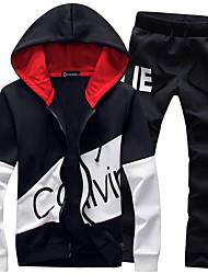 Недорогие -Муж. Спортивный костюм Тренировочный костюм Контрастных цветов Бег LeisureSports Куртка и спортивные штаны Большие размеры Спортивная одежда Дышащий Мягкий Слабоэластичная Стандартный