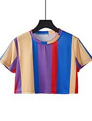 preiswerte -Damen Gestreift - Grundlegend T-shirt Quaste Blau US4