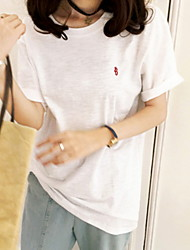 levne -Dámské - Jednobarevné Základní Tričko Bílá US10